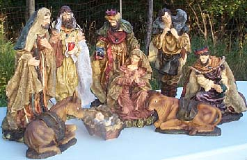 Traditional nativity sets large plaster statues for church or home